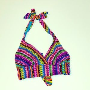 Anne Cole Multicolor Tie Bikini Top Size Large